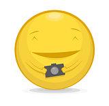 Vector illustration of emoticon with photo camera