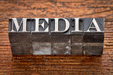 media word in metal type