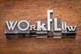 workflow word in metal type