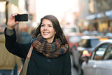Stylish Woman Taking Selfie at the City Street