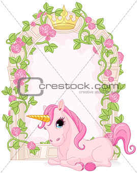 Fairy tale frame with unicorn