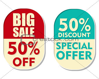 50 percent off discount, big sale and special offer, two ellipti