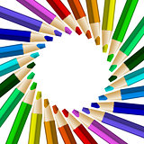 Color pencils in arrange in color wheel colors on white backgrou