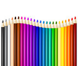 Color pencils in arrange in color row