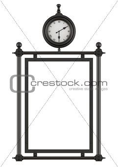 Blank street billboard in old style with clock