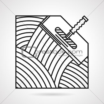 Black line vector icon for spatula