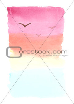 Watercolor background, landscape with sea, sunset and seagulls