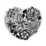 Hand-drawn doodling heart in tattoo style