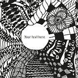 Doodling greeting card with hand drawn patterns
