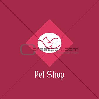 Flat cat sign for pet shop logo