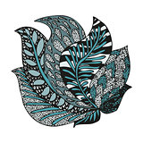 Doodling hand drawn amazing feathers in tattoo style