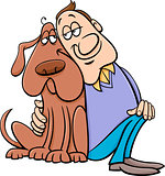 dog with owner cartoon illustration