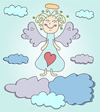 Blond angel with purple wings