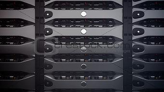 Modern Network servers in a data center.