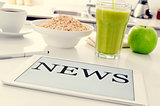 breakfast and news at the kitchen table