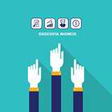 Businessman hands pointing on the web icons