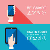 Hand holding smart phone and tablet Modern flat design