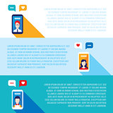 Social network concept  Mobile smart phones with people avatars