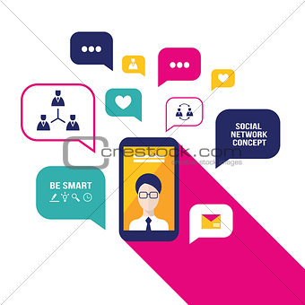 Smart phone mobile with user icon and speech bubbles