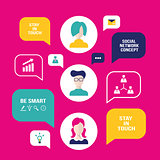 Social network concept People avatars with speech bubbles and business icons for web