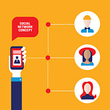 Social network concept Hand holding a smart phone with people avatar