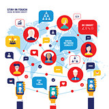 Social network concept People avatars mobile smart phones business icons for web