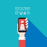 Hand holding smart phone Social network and communication concept Modern flat design