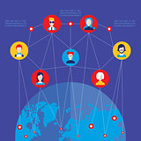 Social network concept  Global communication infographic elements
