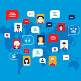 Social network concept People avatars with speech bubbles business icons for web on world map background