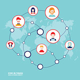 Social network concept People avatars on world map background