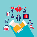 Handshake and icons for web Successful business concept