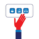 Businessman hand showing web icons Successful business concept Modern flat design