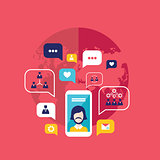 Social network concept  Mobile smart phone with speech bubbles and business icons Infographic elements