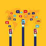 Social network concept Businessman hand with mobile smart phone Global communication infographic elements