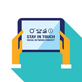 Businessman hands holding the tablet with web icons Social network Communication concept