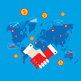 Handshake and money icons on world map background Successful business concept