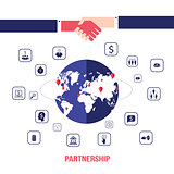 Handshake and icons for web on world map background Successful business concept