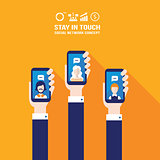 Hand holding smart phone Social network and communication concept