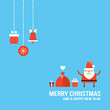 Cute Santa Claus New Year Christmas Holiday greeting card Flat design