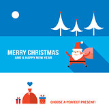 Christmas and New Year banner set Modern flat style