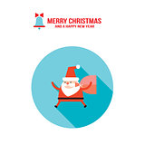 Santa Claus and bag with presents gifts Merry Christmas Happy New Year greeting card