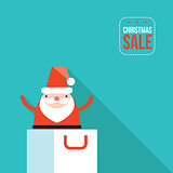 Santa Claus jumping out of shopping bag Christmas sale New Year presents