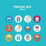 Present box icon set Gift for Christmas Birthday St Valentine's Day
