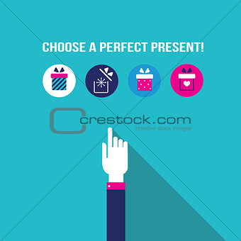 Business man hand choosing a present in gift box