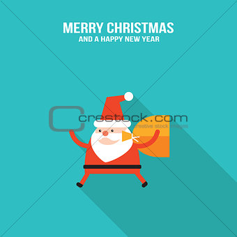 CCute Santa Claus with presents and Christmas deer modern flat design style