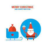 Cute Santa Claus with presents gift bag and sleigh