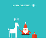 Cute Santa Claus and Christmas deer modern flat design style