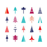 Christmas tree icon set for web