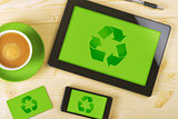 Tablet Computer, Mobile Phone And Business Card for Recycling Co