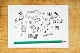 Doodle Multimedia Icons on Paper